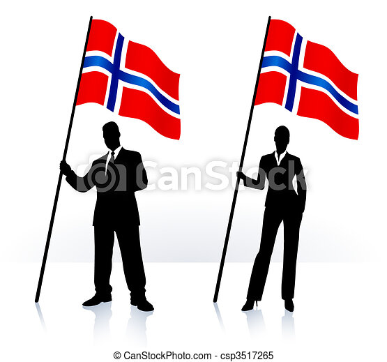 Business silhouettes with waving flag of Norway - csp3517265