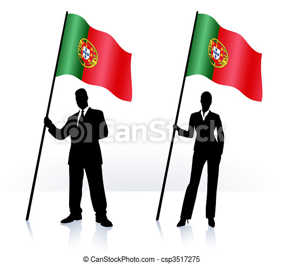 Business silhouettes with waving flag of Portugal - csp3517275