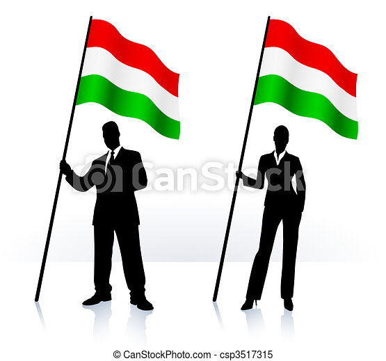 Business silhouettes with waving flag of Hungary - csp3517315