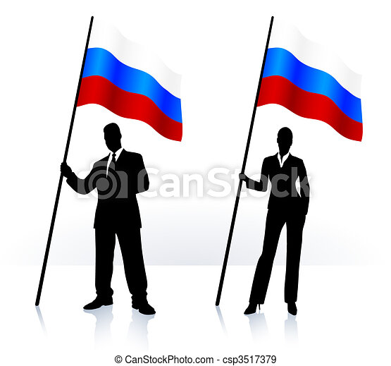 Business silhouettes with waving flag of Russia - csp3517379
