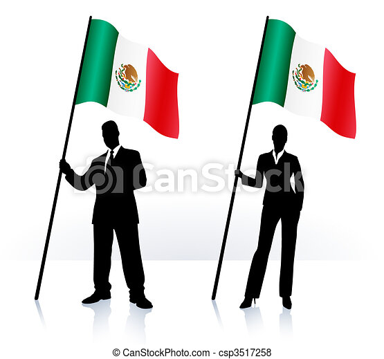 Business silhouettes with waving flag of Mexico - csp3517258