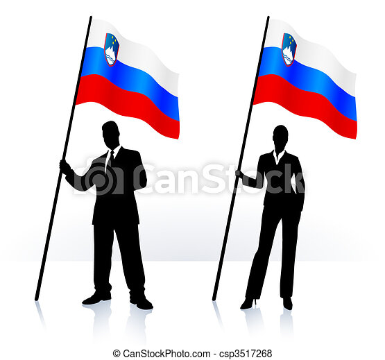 Business silhouettes with waving flag of Slovenia - csp3517268