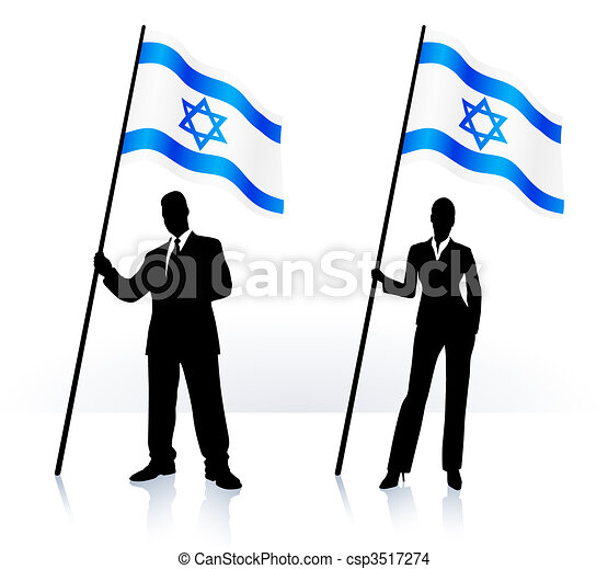 Business silhouettes with waving flag of Israel - csp3517274
