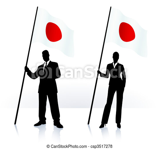 Business silhouettes with waving flag of Japan - csp3517278
