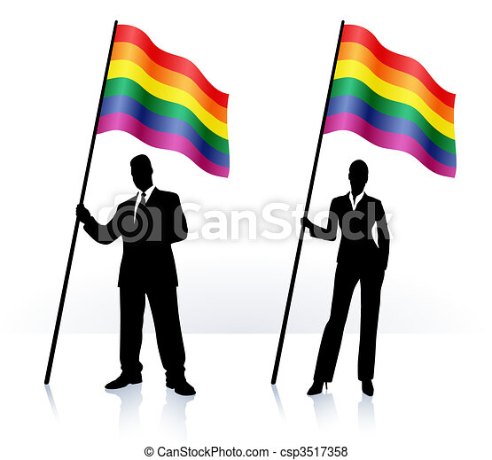 Business silhouettes with waving flag of Gay Pride - csp3517358