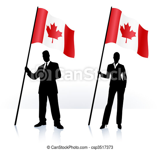 Business silhouettes with waving flag of Canada - csp3517373