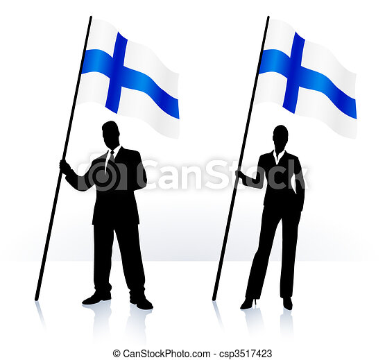 Business silhouettes with waving flag of Finland - csp3517423