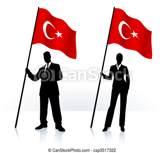 Business silhouettes with waving flag of Turkey - csp3517322