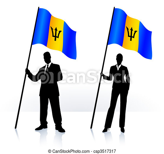 Business silhouettes with waving flag of Barbados - csp3517317