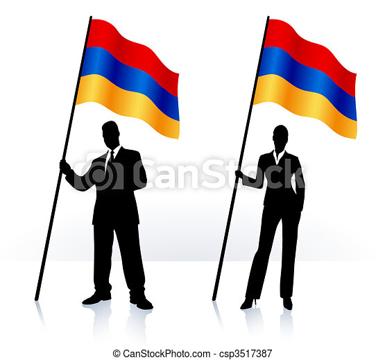 Business silhouettes with waving flag of Armenia - csp3517387