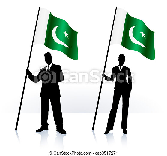 Business silhouettes with waving flag of Pakistan - csp3517271