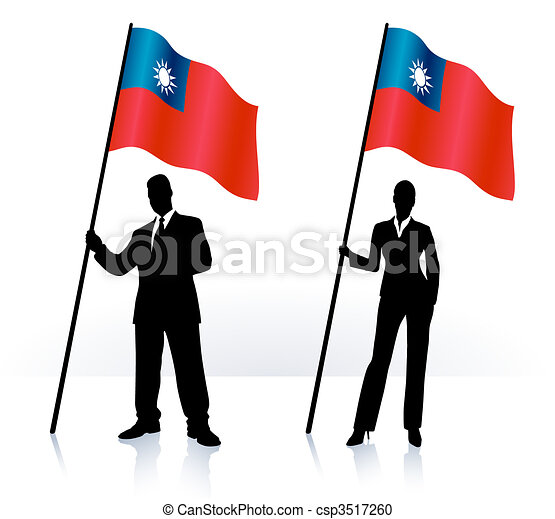 Business silhouettes with waving flag of Taiwan - csp3517260