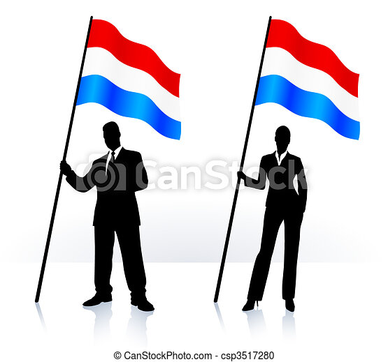Business silhouettes with waving flag of Luxenburg - csp3517280