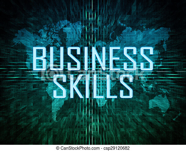 Business skills text concept on green digital world map background business skills csp29120682 gumiabroncs Images