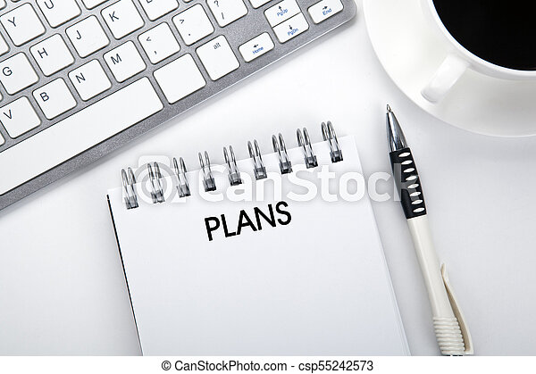 business still life of a notebook with an inscription plans and keyboard on the desktop - csp55242573