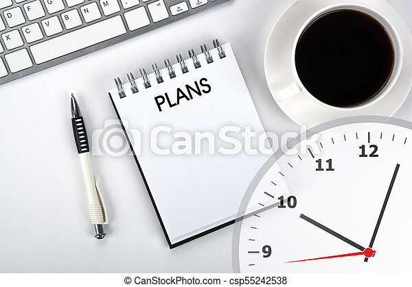 business still life of a notebook with an inscription plans and keyboard on the desktop - csp55242538