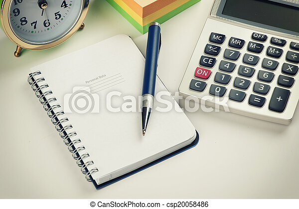 business still life with pen and organizer - csp20058486