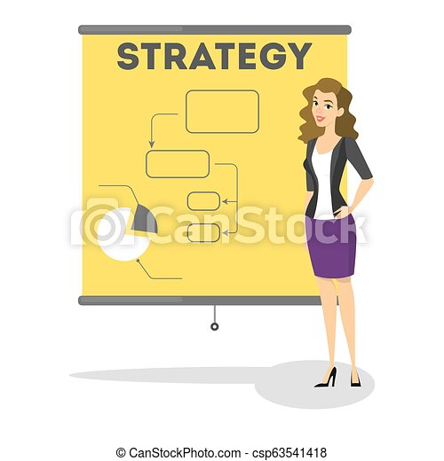Business strategy concept. Woman standing at the board - csp63541418