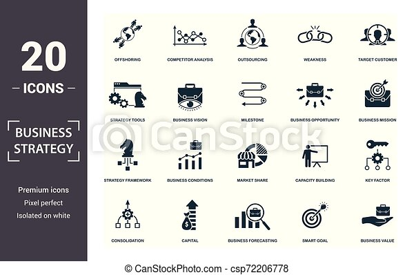 Business Strategy Icon Set Contain Filled Flat Business Vision Business Value Brand Strategy Business Conditions