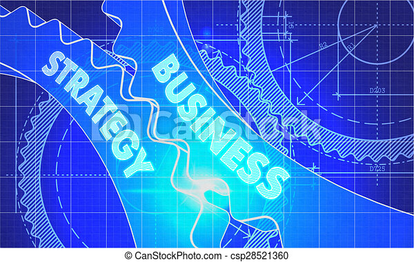 Business Strategy on the Gears. Blueprint Style. - csp28521360