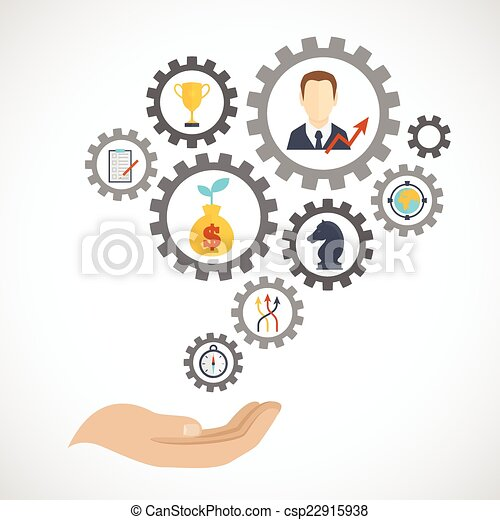 Business strategy planning icon flat - csp22915938