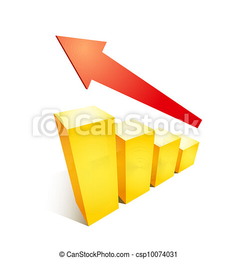Business success growth graph chart illustration with arrow and golden bars on white background - csp10074031