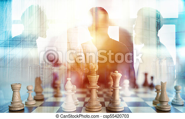 Business tactic with chess game and businessmen that work together in office. Concept of teamwork, partnership and strategy. double exposure - csp55420703