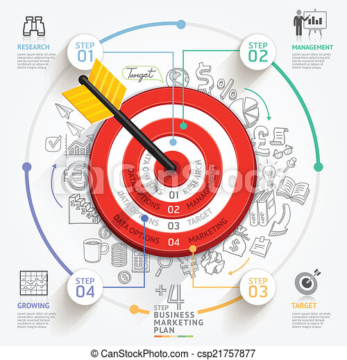 Business target marketing concept. Target with arrow and doodles icons. Can be used for workflow layout, banner, diagram, web design, infographic template. - csp21757877