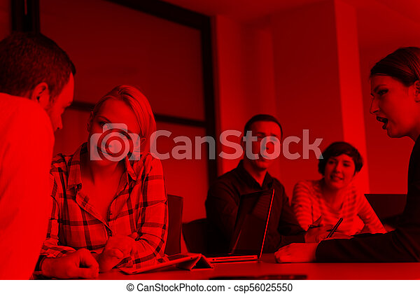 Business Team At A Meeting at modern office building - csp56025550