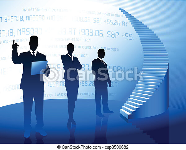Business team background with corporate ladder - csp3500682