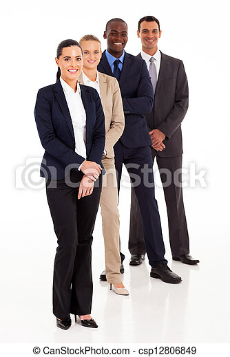 business team full length portrait on white - csp12806849