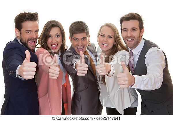 business team group with thumbs up - csp25147641