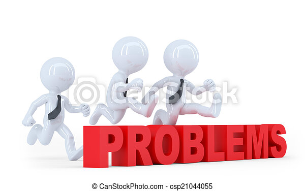 Business team jumping over a hurdle obstacle problems. Isolated - csp21044055