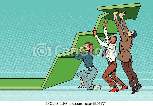 Business team lift up growth chart - csp45301771