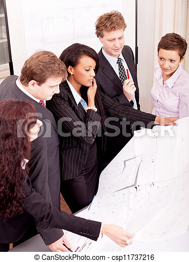 business team looking architecture project  - csp11737216