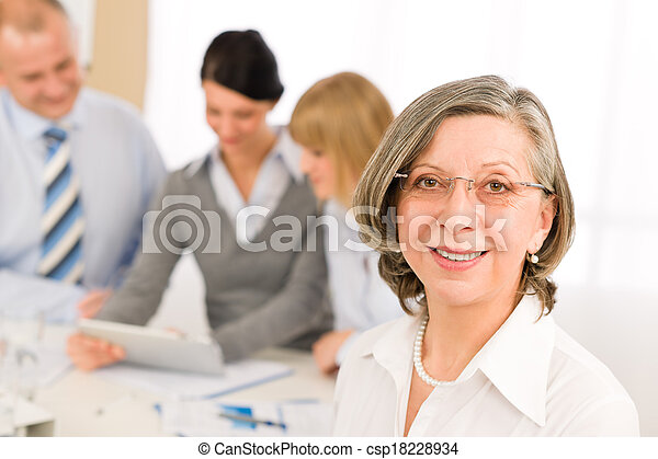 Business team meeting executive senior woman - csp18228934