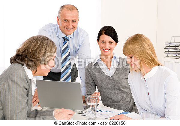 Business team meeting people around table - csp18226156