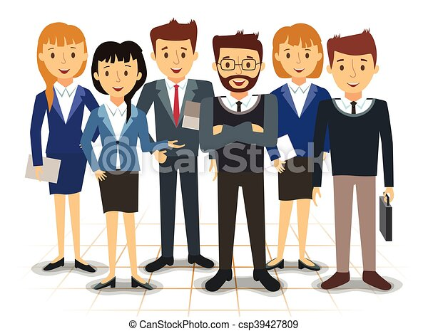 Business team of employees vector illustration.  Business team o...