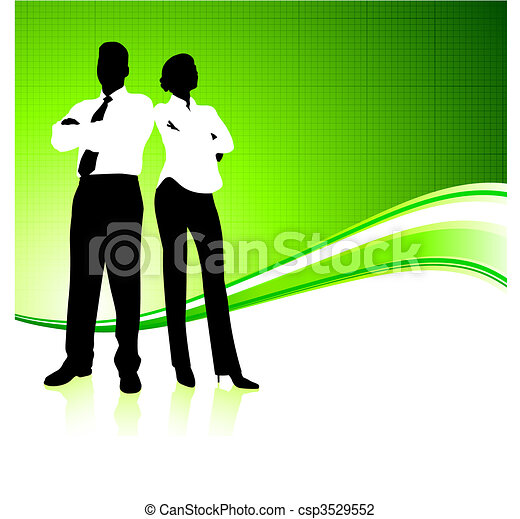 Business team on green environment background - csp3529552