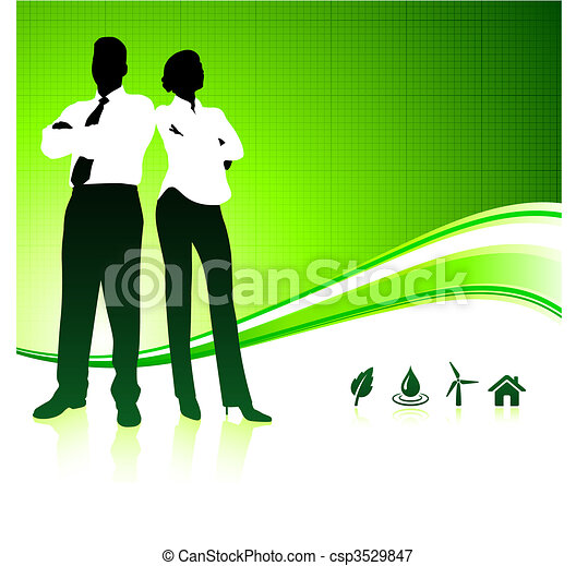 Business team on green environment background - csp3529847