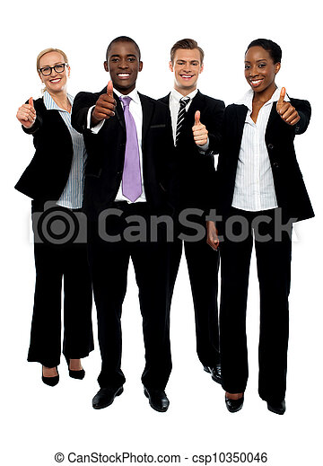 Business team people group gesturing thumbs up - csp10350046