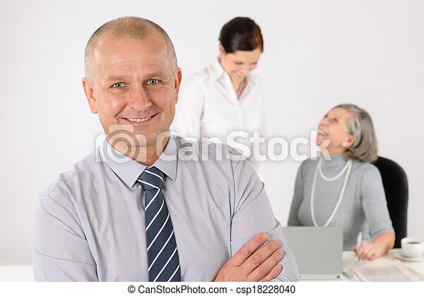 Business team senior manager with happy colleagues - csp18228040