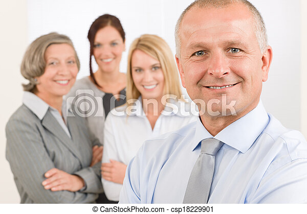 Business team senior manager with happy colleagues - csp18229901