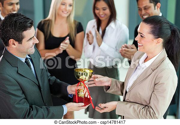 business team winning a trophy - csp14781417