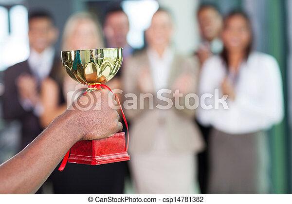business team winning a trophy - csp14781382