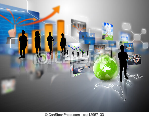 Business team with business world - csp12957133