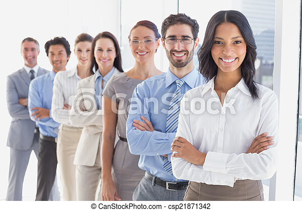 Business team with folded arms - csp21871342