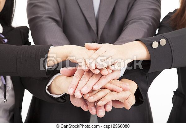 business team with hand together for teamwork concept - csp12360080