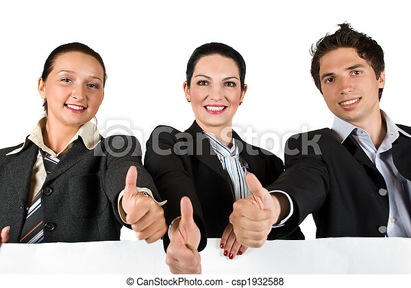 Business team with thumbs up and white sign - csp1932588