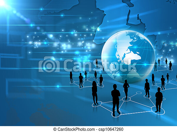 business team with world - csp10647260